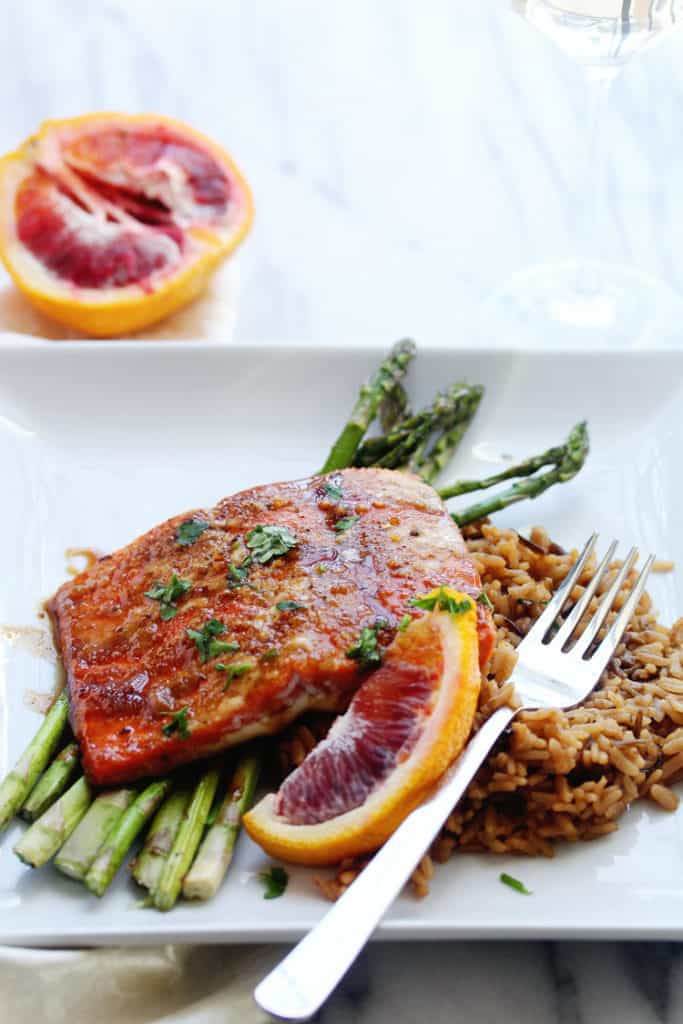 A delicious close up of honey glazed salmon ready to serve