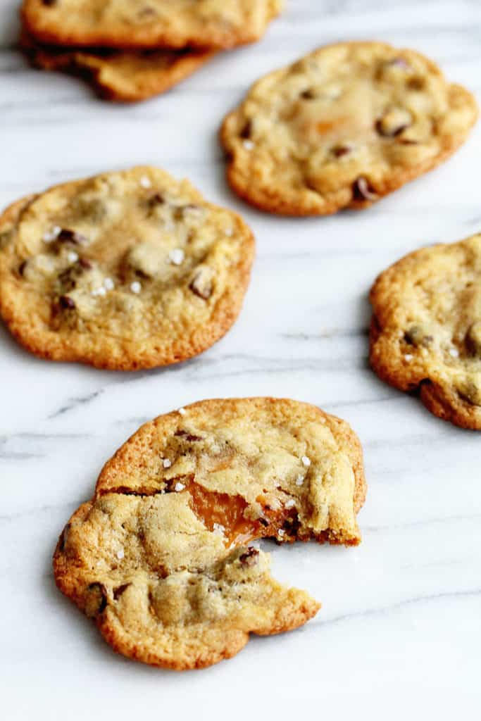 salted caramel chocolate chip cookies 2 683x1024 - Salted Caramel Chocolate Chip Cookies