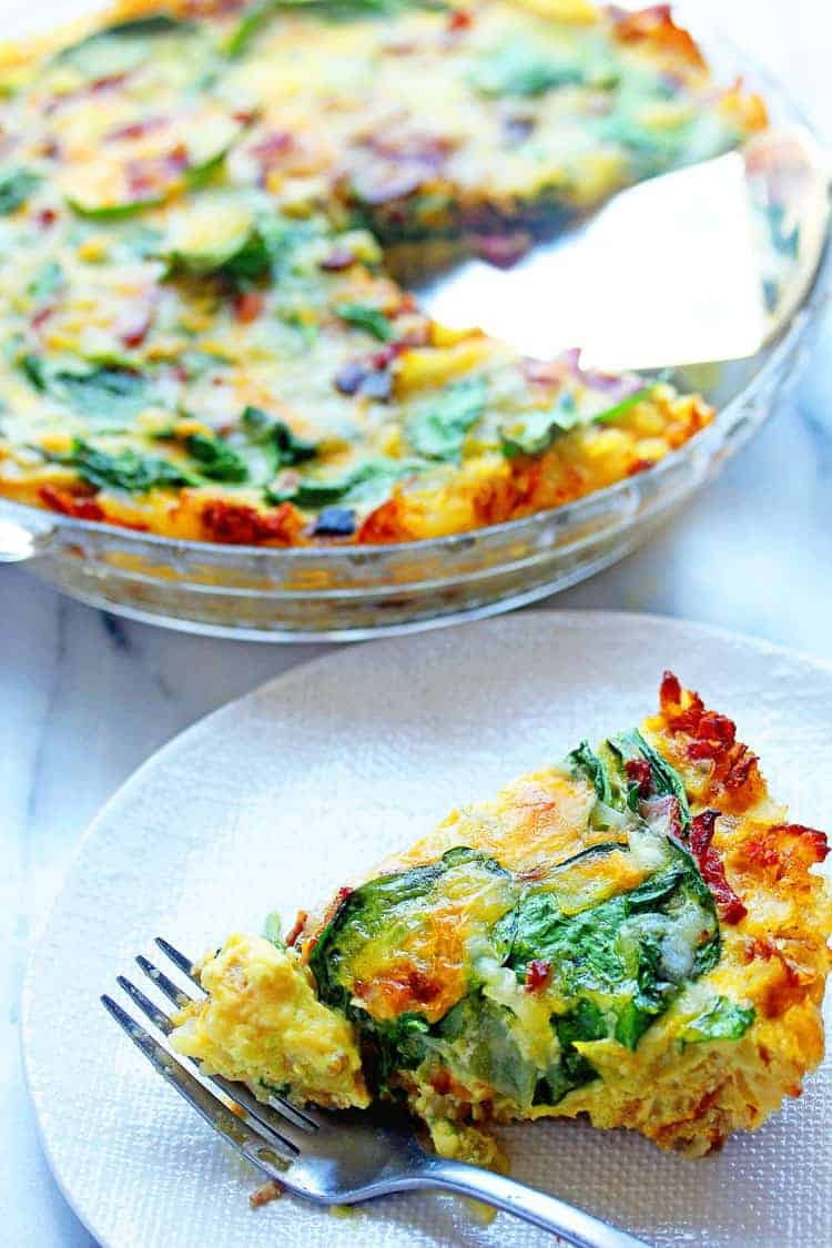 Spinach and Bacon Hash brown Quiche 3 - Spinach and Bacon Hash Brown Quiche
