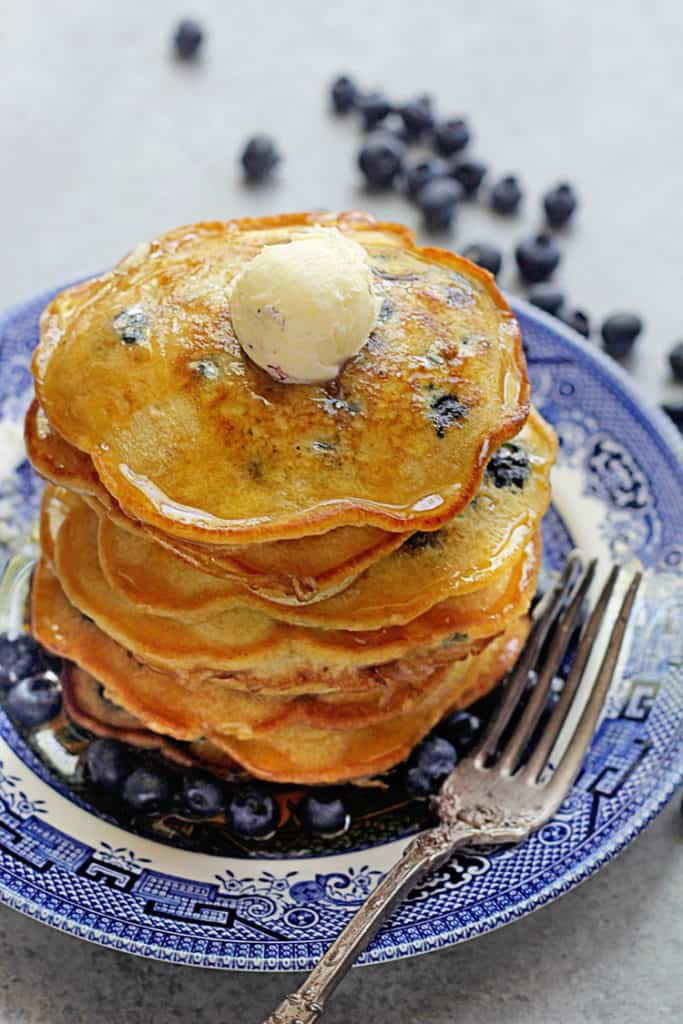 This easy blueberry pancake recipe from the Fast and Easy Five-Ingredient Recipes Cookbookrequires only 5 ingredients plus fresh blueberries!