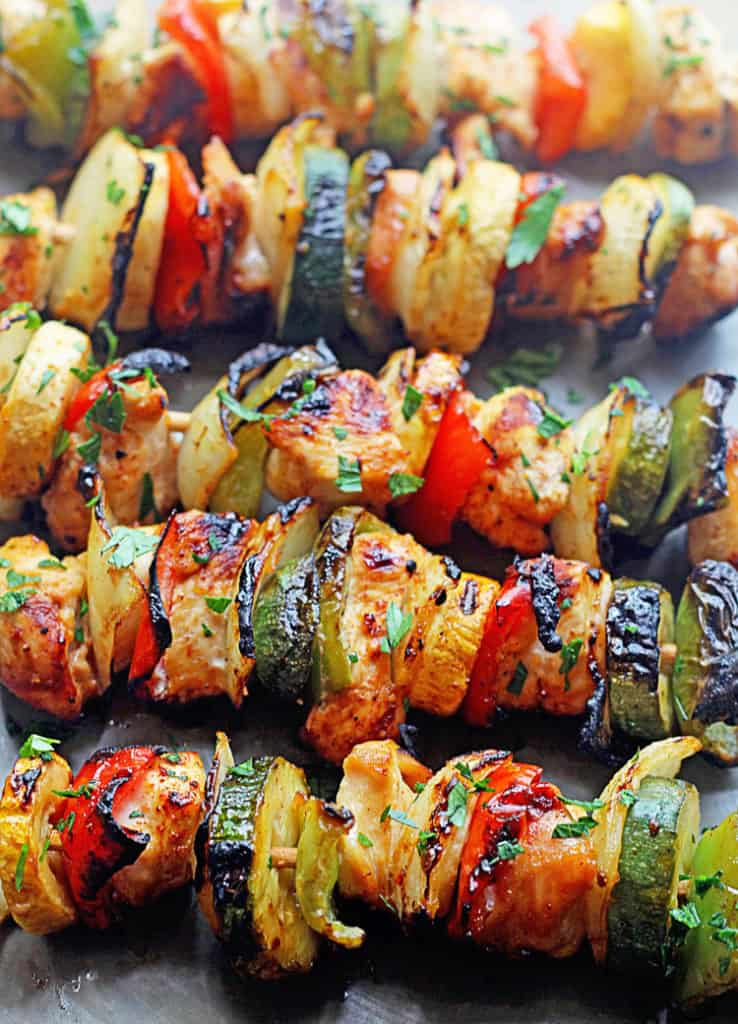 Grilled Chicken Kabobs with Apricot Glaze.