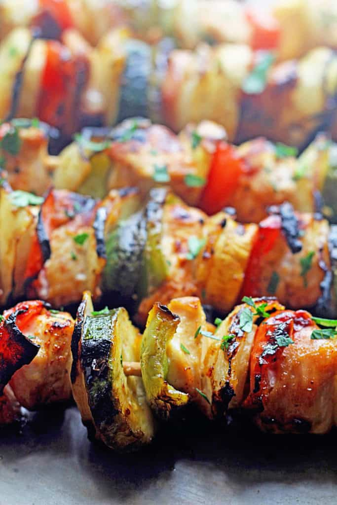 Close up of these succulent grilled chicken kabobs with apricot glaze.