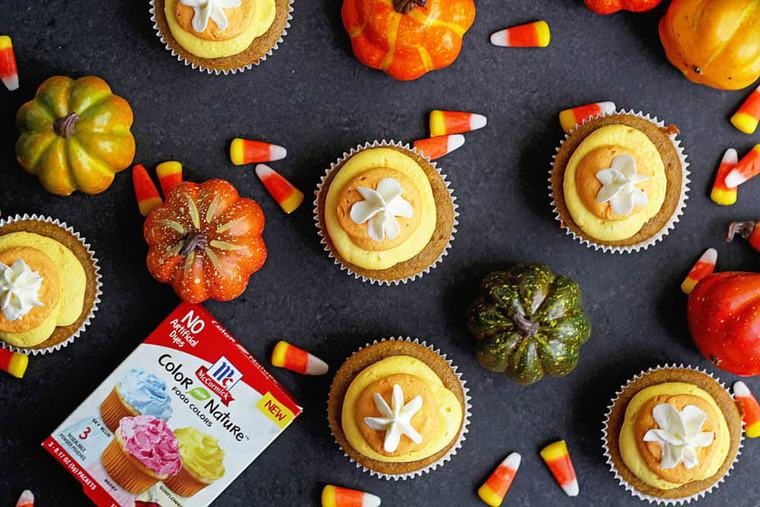 Pumpkin Cupcakes Candy Corn Buttercream 2 - Super Fun and FESTIVE Fall Pumpkin Cupcakes with Candy Corn Buttercream
