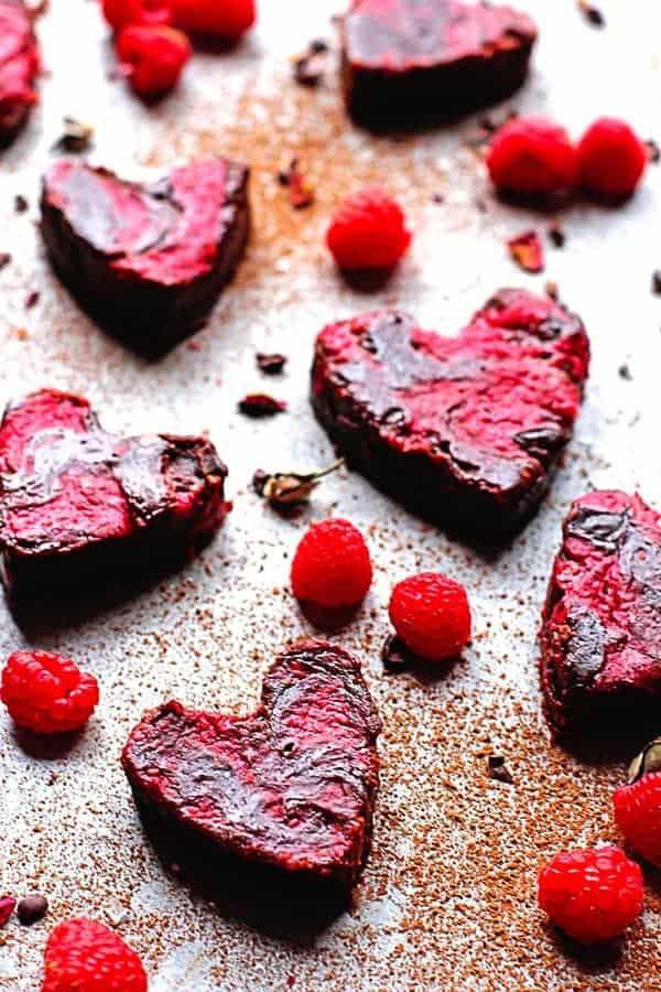 Heart Shaped Raspberry Brownies updated1 - Raspberry Brownies Recipe