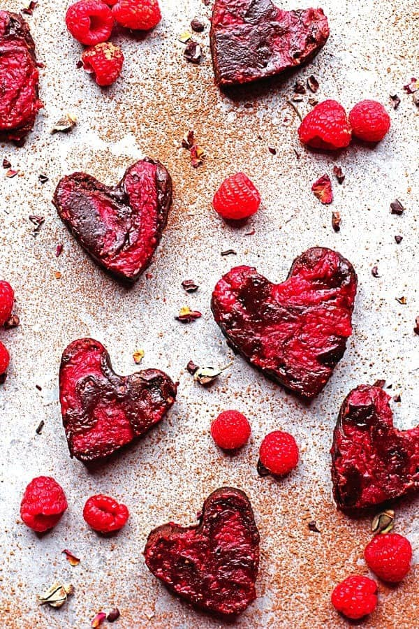 Heart Shaped Raspberry Brownies updated2 - Raspberry Brownies Recipe
