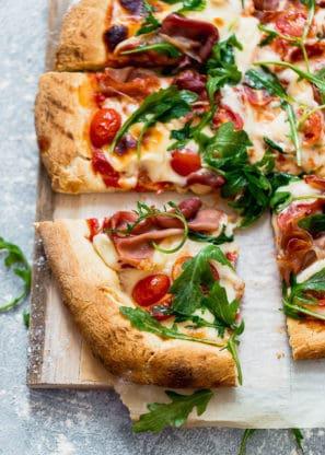Grilled Prosciutto Arugula Pizza 3 297x416 - Grilled Prosciutto Arugula Pizza Recipe