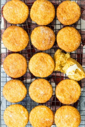 Overhead of from scratch Jiffy Corn Muffins recipe in neat rows