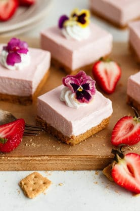 web strawberry cheesecake bars 10 277x416 - No Bake Strawberry Cheesecake (Easy Cheesecake Recipe)