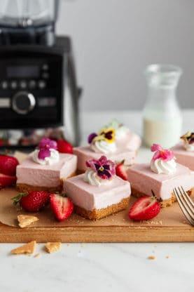 No Bake Strawberry Cheesecake Bars Recipe | Grandbaby Cakes