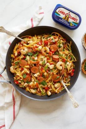 An overhead of Cajun Jambalaya recipe in large skillet