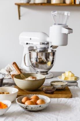 Ingredients ready to bake Sour Cream Coffee Cake Recipe