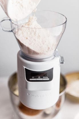 Sifted flour for Sweet Potato Cake with Cinnamon Swirl