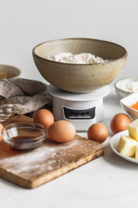 Close up of ingredients for Sweet Potato Cake with Cinnamon Swirl Recipe