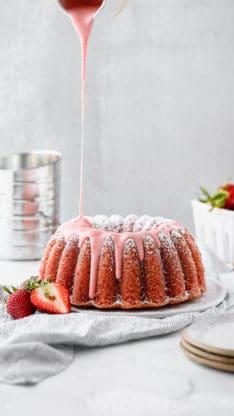 Labor Day Recipes - Fresh Strawberry Pound Cake Recipe with Strawberry Glaze poured over it