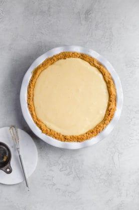 Overhead of graham cracker crust recipe with pie filling