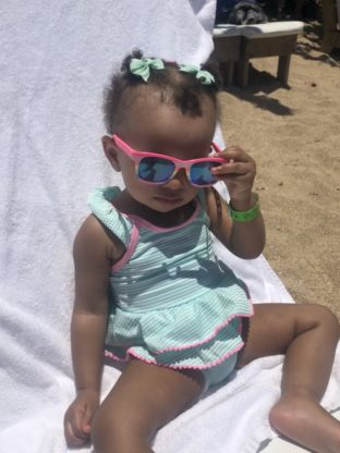 Harmony lounging on the beach in Ocho Rios 312x416 - Cruising with a Toddler
