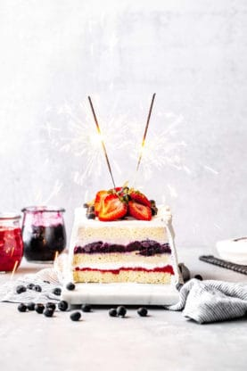 The best icebox cake recipe against white background with sparklers for Fourth of July
