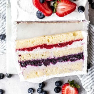 Close up overhead shot of a slice of Berry Icebox Cake recipe