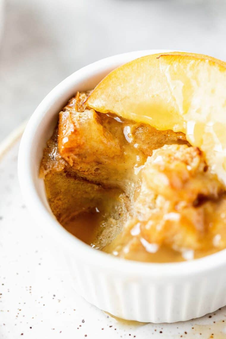Extreme close up of eaten peach bread pudding