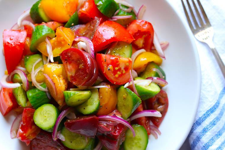 Cucumber Tomato Salad Recipe 1 - 20+ BEST Labor Day Recipes to Make Your Holiday a Hit!!