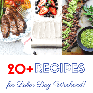A collage of labor day recipes include steak and icebox cake for celebrating
