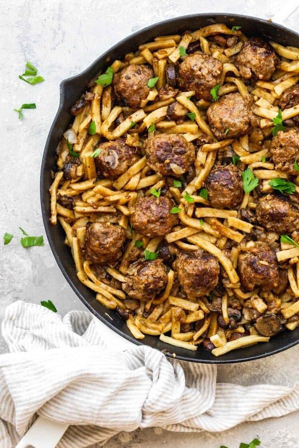 Salisbury Steak Meatball Noodle Skillet 1 - Salisbury Steak Meatball Noodle Skillet
