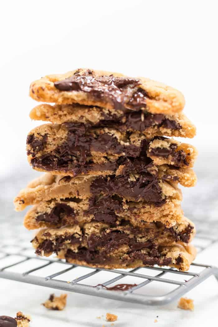 Halved sweet and salty homemade chocolate chip cookies