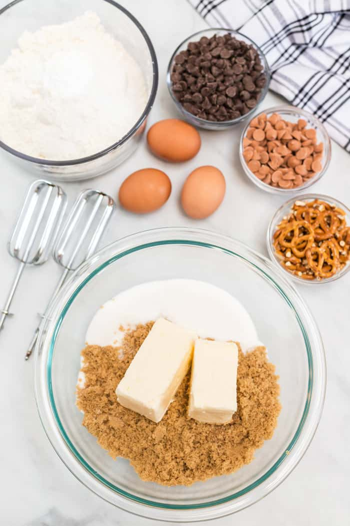 Ingredients for sweet and salty chocolate chip cookies to mix together