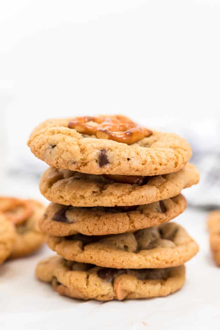 A stack of sweet and salty homemade cookies read y to serve