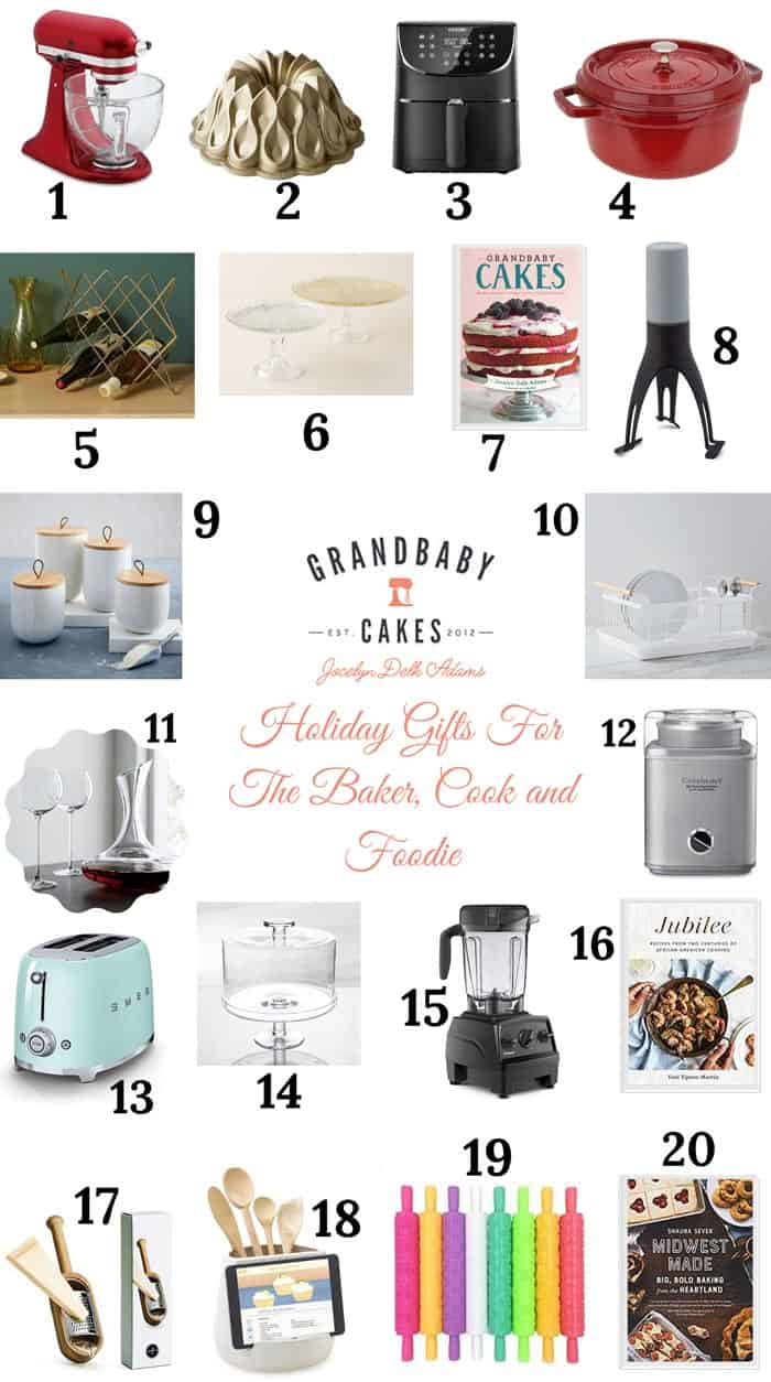 A collage of holiday gifts for foodies and cooks and bakers