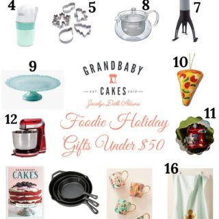 A collage of holiday Foodie Gifts Under $50 for a gift guide