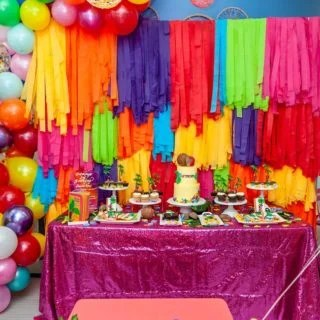 Dessert table and balloon set up at 2nd birthday party