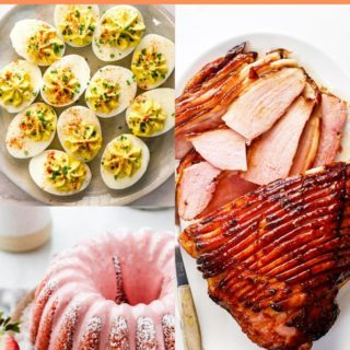 A collage of ham, deviled eggs and strawberry cake for an amazing Easter menu