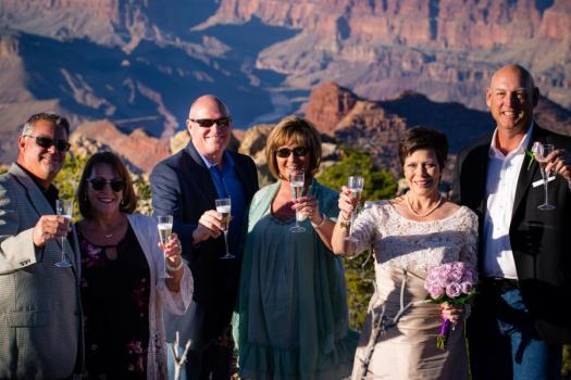 grand canyon wedding champagne toast with friends