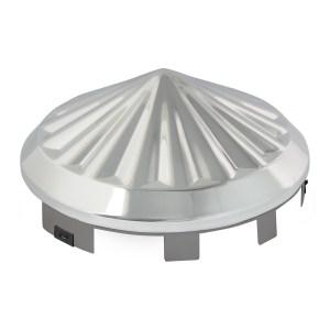 "Chrome Plate 1"" Pinwheel Universal Front Hub Cap"