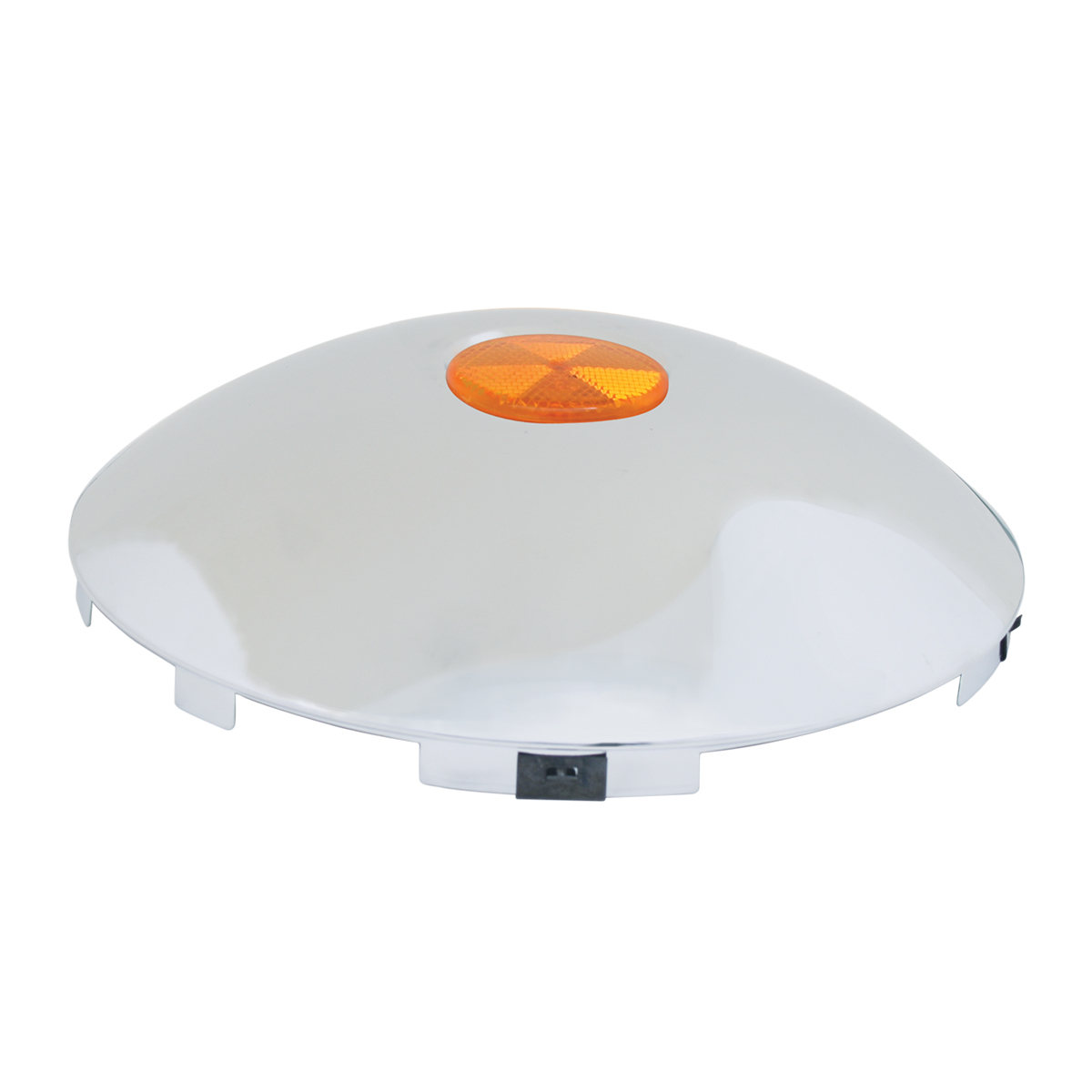 "#10790 Universal 1"" Front Hub Caps with 2"" Top Mounted Amber Reflector"