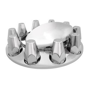 Chrome ABS Plastic Standard Hub Cap with Screw On Nut Covers