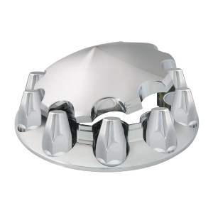 Chrome ABS Plastic with Cone Type Hub Cap with Classic Screw on Nut Covers
