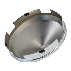 """Chrome Plated 1"""" Cone Front Hub Cap - Bottom View"""