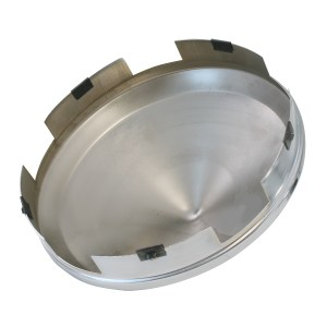 """Chrome Plated 1"""" Cone Front Hub Cap -Bottom View"""