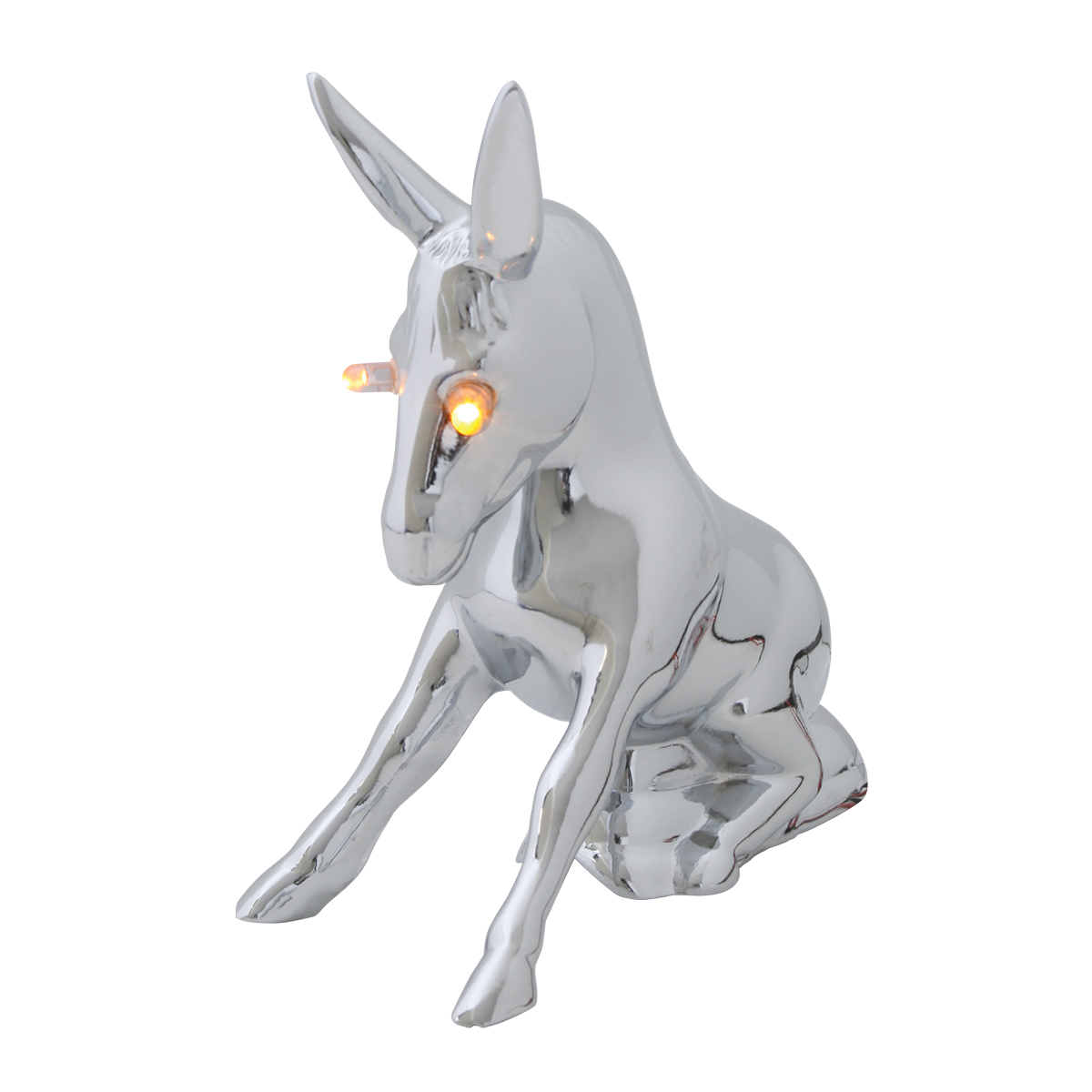 Chrome Die Cast Novelty Donkey w/Illuminated Eyes
