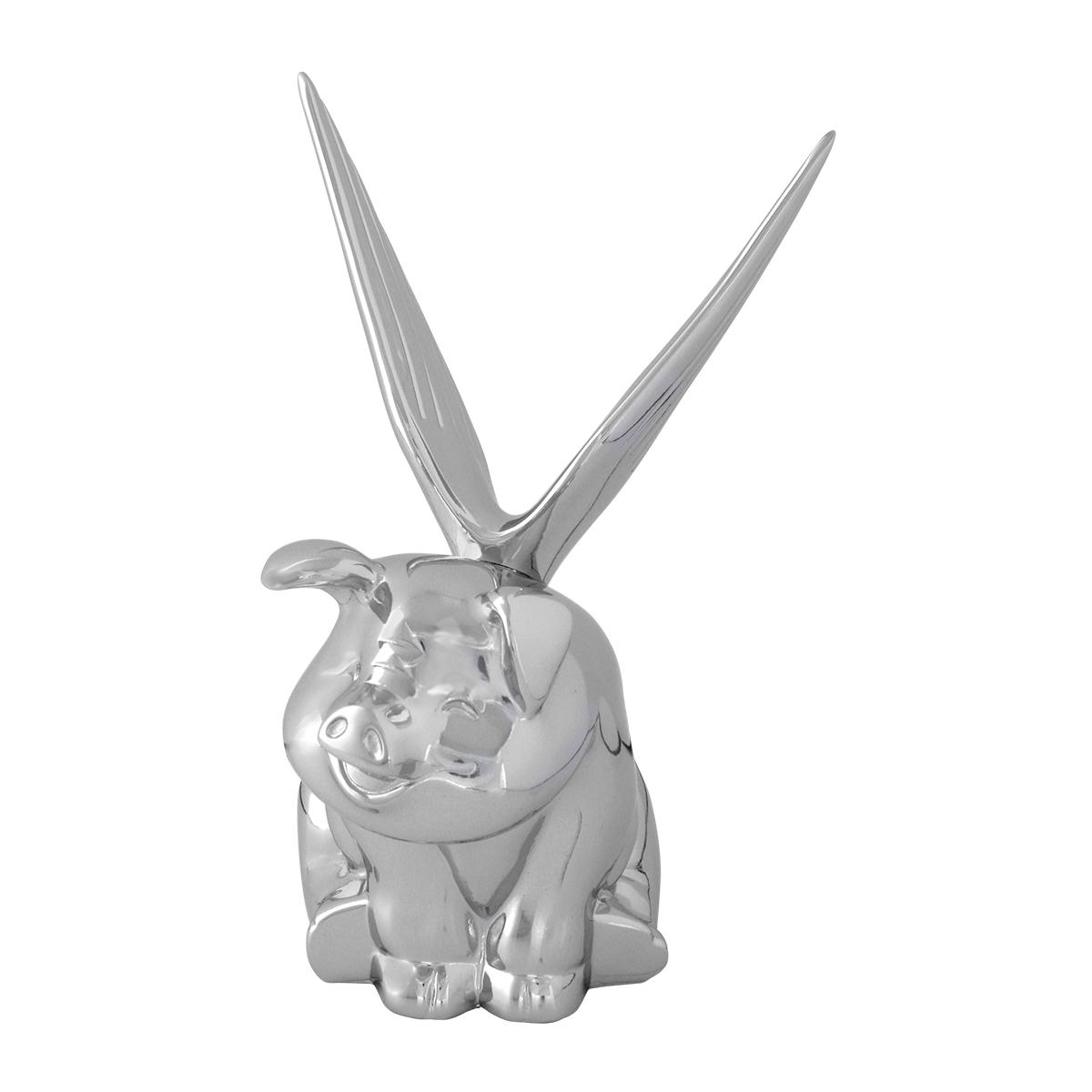 Chrome Die Cast Winged Pig Hood Ornament