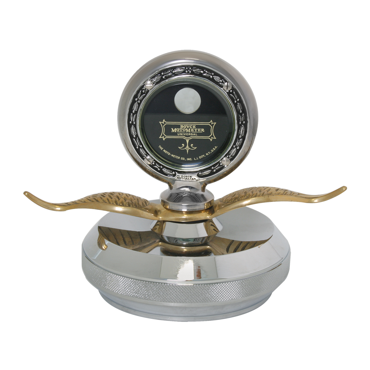 Large Chrome Motometer with Brass Wings & Chrome Die Cast Base Hood Ornament