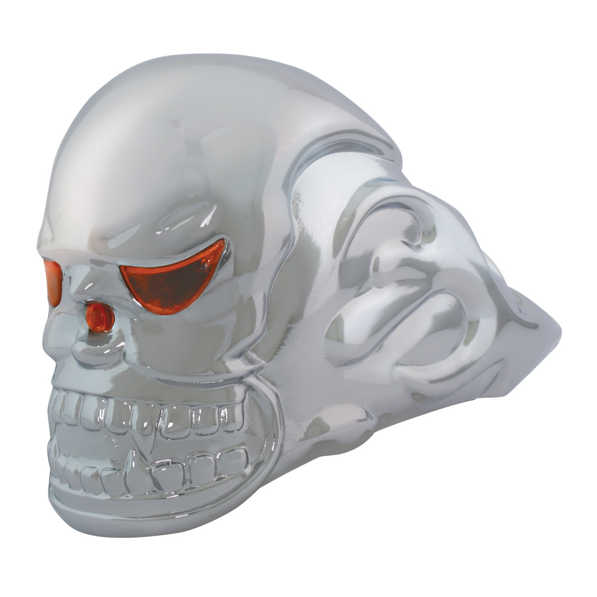 Chrome Die Cast Illuminated Flame Skull Hood Ornament – Unlit