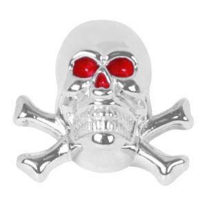 Chrome Die Cast Red Eye Skull w/Bones License Plate Fastener Set