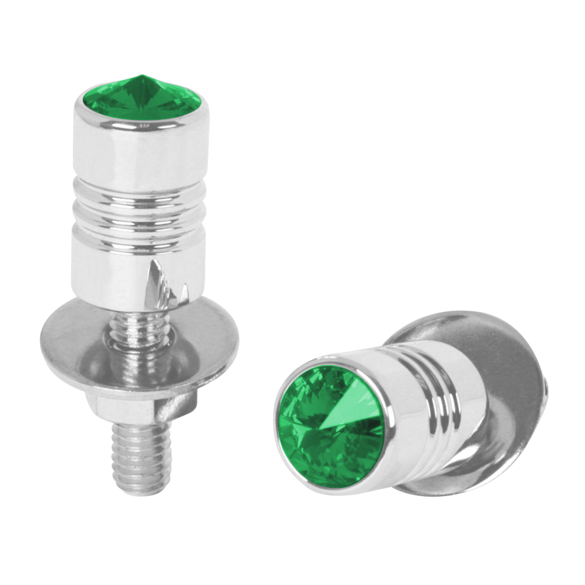 "½"" Dia. x 1 ½"" (H) Aluminum Fastener Set with Green Crystal on Top"