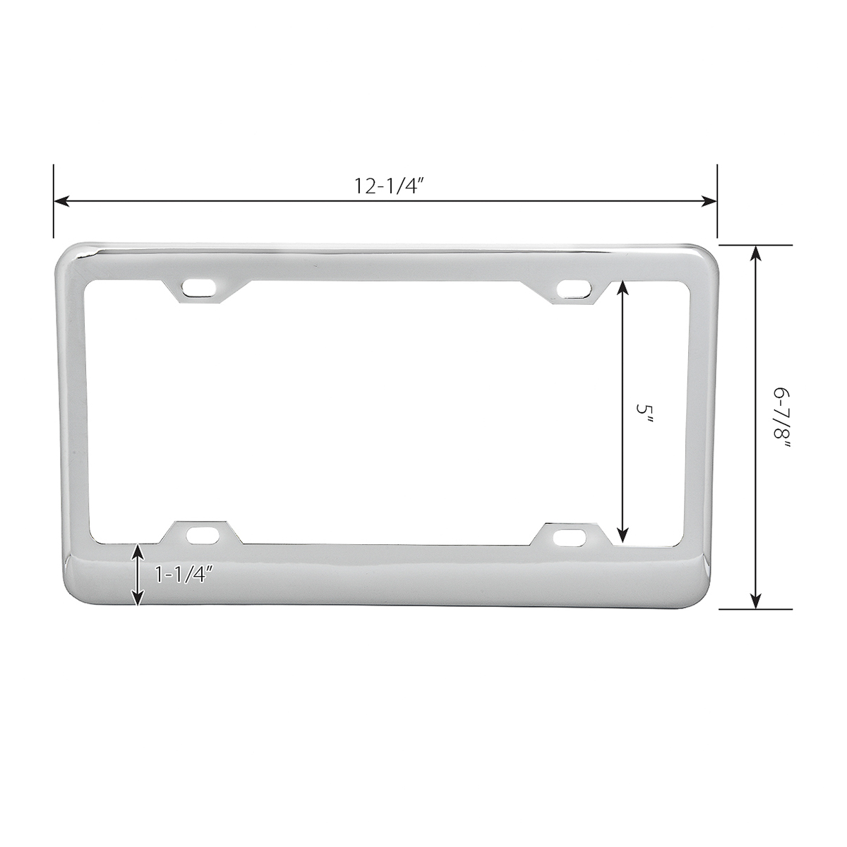60050 Classic Chrome Plastic Steel 4-Hole License Plate Frames - Measurement