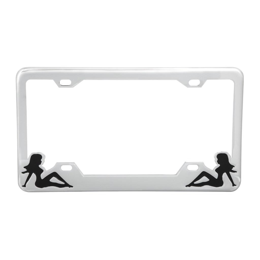 Chrome Elegant Metal Custom License Plate Tag Frame for