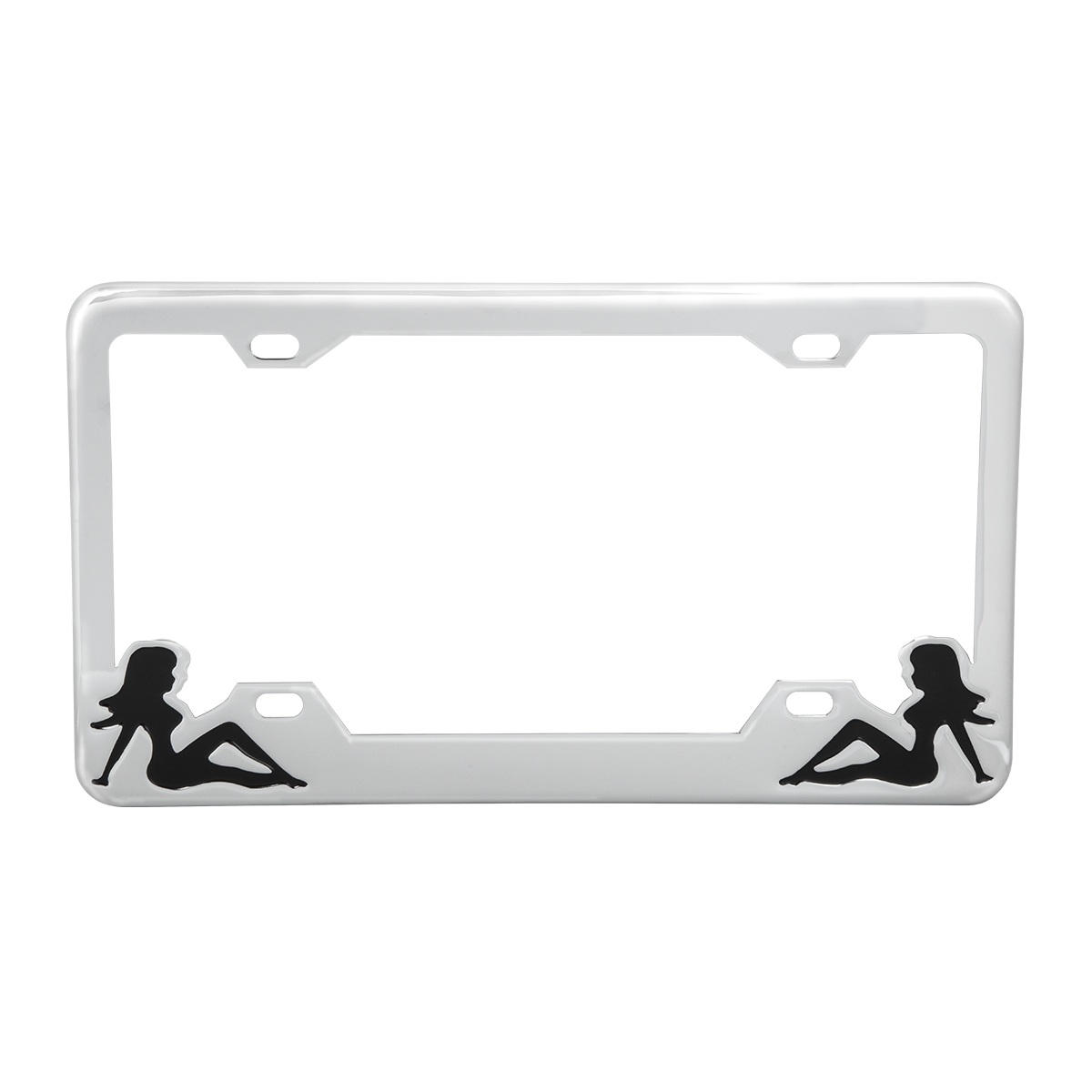 Chrome Plated Steel License Plate Frame with Black Color Sitting Ladies