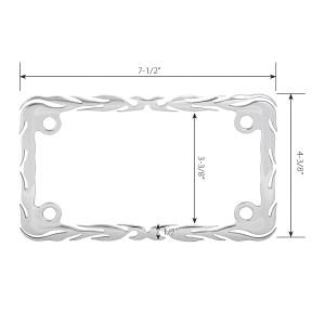 Chrome Die Cast Flames Motorcycle License Plate Frame - 4 Holes Measurements